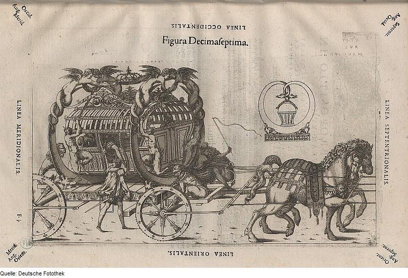 Besson, Jacques & Béroalde de Verville, François & Paschal, Julius: Kutsche, Kupferstich 1582 Quelle: Deutsche Fotothek/ Wikimedia Commons