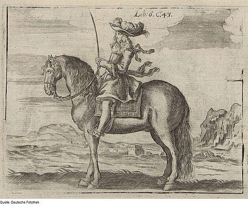 Wolf Helmhardt von Hohberg: Korrekte Haltung des Reiters auf einem Pferd, Kupferstich 1695 Quelle: Deutsche Fotothek/ Wikimedia Commons